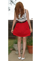 American Apparel skirt - forever 21 shirt - alloy shoes - vintage belt