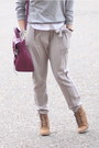 Camel-ankle-wedge-zara-boots-navy-fedora-asos-hat-heather-gray-h-m-sweater-