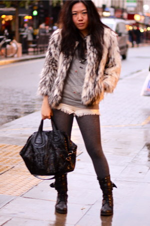 white Lipsy coat - heather gray Tsumori Chisato top - white Erin Wasson x RVCA s