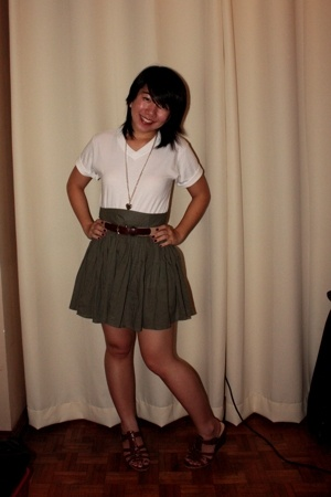 SM Dept Store shirt - bench skirt - Garage Sale belt - SM Dept Store shoes - rui