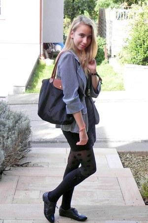 new look shoes - Vero Moda dress - Primark blazer - H&M tights - longchamp bag -