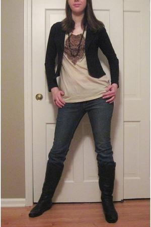 black Charlotte Russe blazer - beige Target t-shirt - blue Deliaa jeans - brown