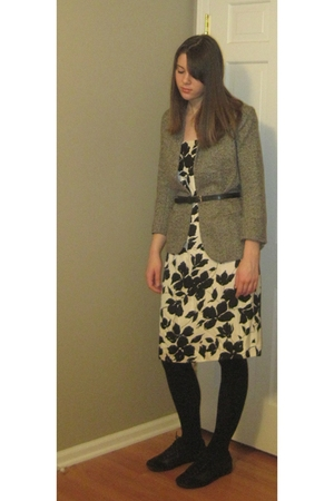 black ann taylor dress - gray Urban Outfitters blazer - black Marshalls tights -