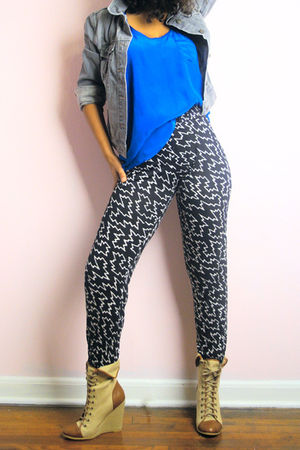 gray Old Navy jacket - blue Forever 21 top - black Urban Outfitters pants - brow