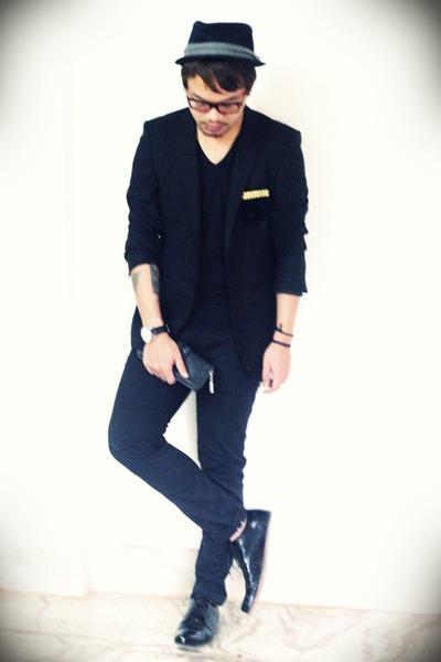 black lace up maneeslip shoes - black band Zara hat 4588ffa840c