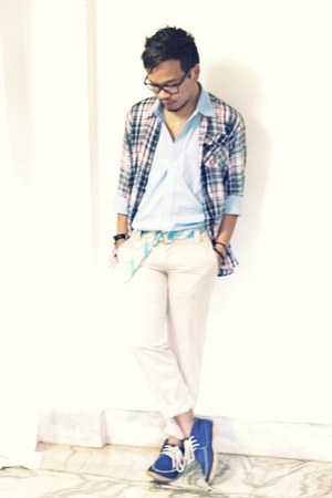 navy boat shoes Topman shoes - sky blue double collar my label pinkstone shirt