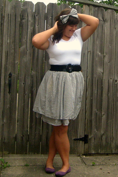 purple Target shoes - blue DIY skirt - black kohls belt - white Bisou Bisou t-sh