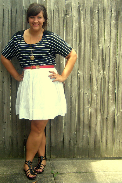 black JCPenney top - black Target shoes - red thrifted belt - white Target skirt