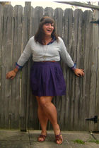 brown payless shoes - purple Gap skirt - gray thrifted belt - gray Old Navy swea