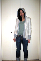 white Silence & Noise blazer - gray Old Navy sweater - green TNA t-shirt - blue