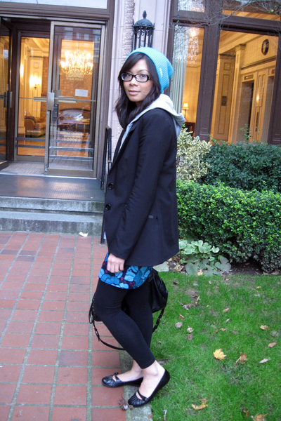 blue neff hat - gray Old Navy sweater - black H&M blazer - blue H&M dress - blac