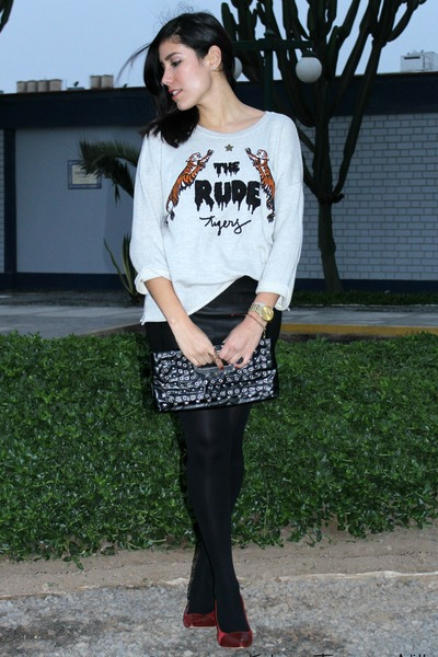 kidsmadehere skirt - studded clutch Navigata bag - MF heels - Zara sweatshirt