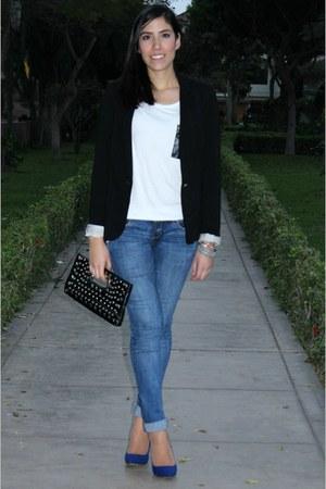 blue skinny jeans Fiorucci jeans - navy Zara blazer