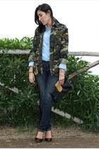 sky blue denim shirt Stradivarius shirt - navy skinny jeans Fiorucci jeans