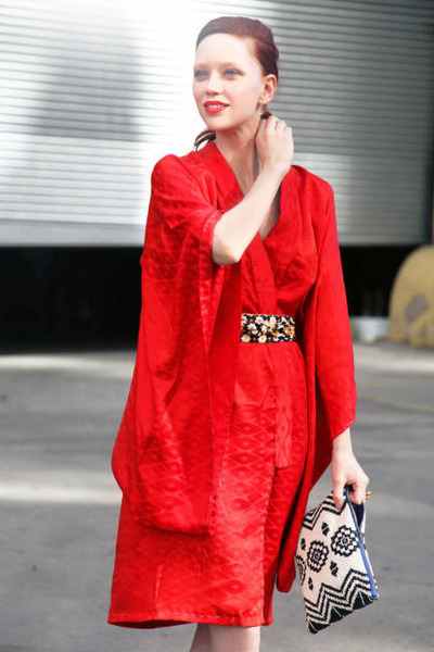 ruby red kimono dress