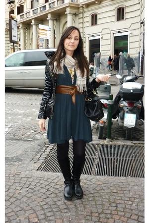 blue twinset dress - black Prada boots - black Calzedonia tights - black Miu Miu