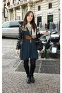 Blue-twinset-dress-black-prada-boots-black-calzedonia-tights-black-miu-miu