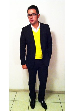 patent leather Zara shoes - cashmere Armani Exchange sweater - Mango shirt - sli