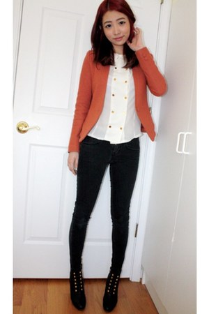 booties zipia boots - skinny jeans Forever 21 jeans - wool no name blazer - butt