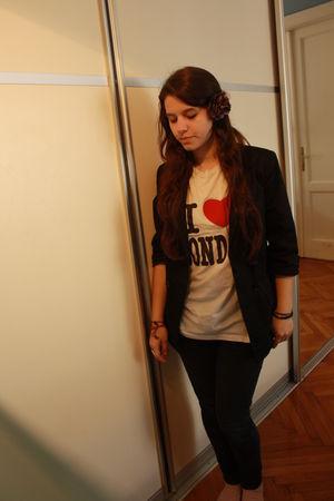 black Topshop blazer - white vintage shirt - black Topshop jeans