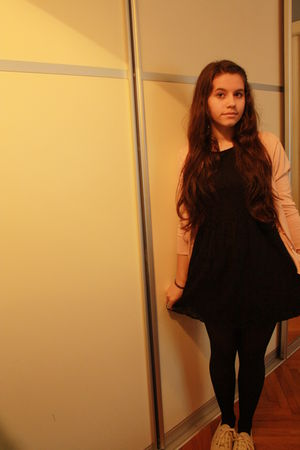 black new look dress - pink Zara cardigan