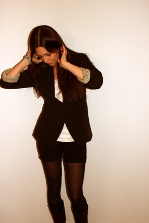 black Charlotte Russe blazer - black American Apparel leggings - silver American