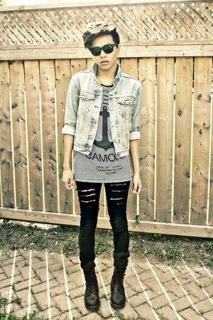 blue calvin klein jacket - silver Zara shirt - black H&M jeans - black doc marte