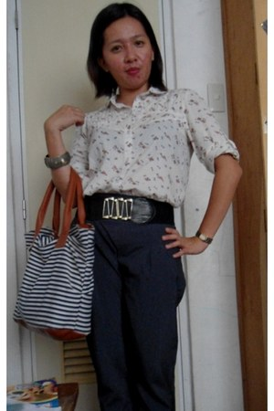 stripes canvass bag - from singapore bracelet - floral print H&M blouse - pants
