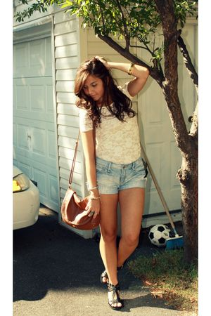 beige Forever 21 shirt - blue Forever 21 shorts - brown H&M - black Mandee shoes