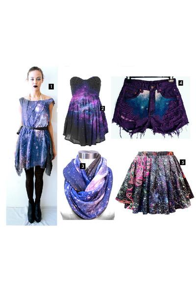 Purple Nebula Print Dress