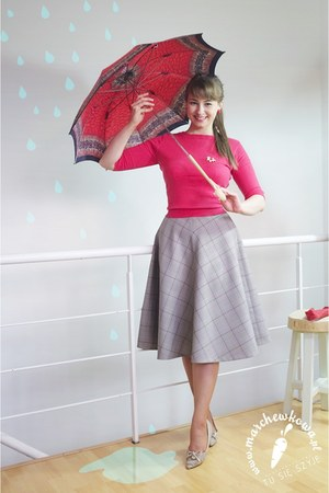 ruby red cashmere vintage cardigan - ruby red umbrella 50s vintage accessories