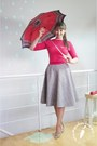 Heather-gray-marchewkowapl-skirt-ruby-red-cashmere-vintage-cardigan