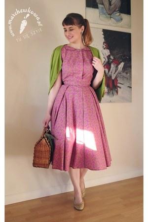dark brown straw vintage bag - maroon handmade marchewkowapl dress