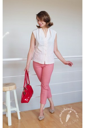 red leather Baron bag - beige leather SCAVIOLA flats - red cotton Made be me
