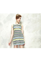 Rainbow Ripple Stripes Peter Pan Collar Dress