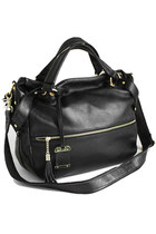 Leather Shoulder Bag with Front Zip Pocket&Detachable Crossbody Strap