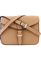 Leather Mini Satchel 10&quot; Crossbody Bag-Apricot