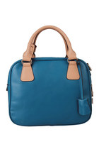 Leather Top Handle Tote Handbag with Lock Details