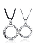 925 Sterling Silver Couple Necklace Engraved &quot;one wish&quot; Letters Round Shaped18&quot;