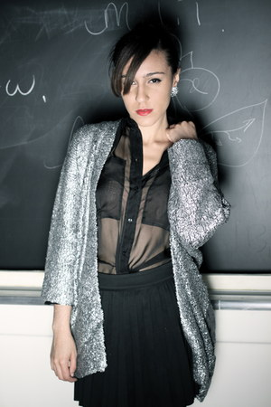 black sheer H&amp;M shirt - silver H&amp;M Trend sweater - black pleated Zara skirt
