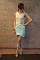 asymmetrical H&M shirt - H&M skirt - suede Zara heels - gold H&M bracelet