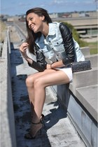 white vest BCBG dress - Urban Outfitters jacket - black Zara heels