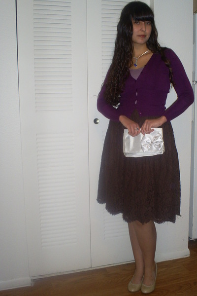 thrifted skirt - shoes - bow on front thrifted purse - gifted cardigan