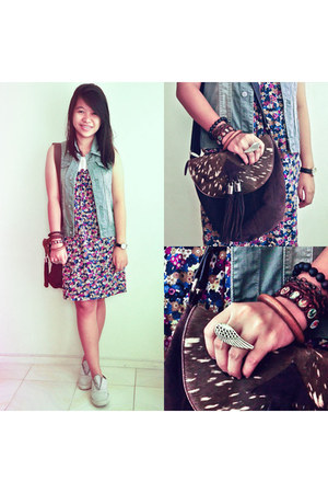 navy floral Twistory dress - dark brown fringe from hong kong bag