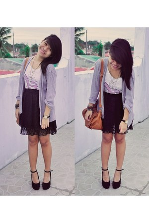 black Pink Manila skirt - periwinkle Topshop cardigan - black Asian Vogue wedges