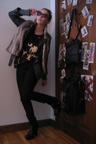 black sam endelman boots - black Forever 21 jeans - heather gray delias sweater