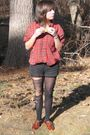Black-forever21-shorts-brown-steve-madden-shoes-black-tights-red-vintage-t
