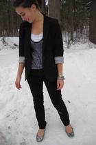 black Forever21 blazer - black Forever 21 jeans - blue Rodarte for Target shirt