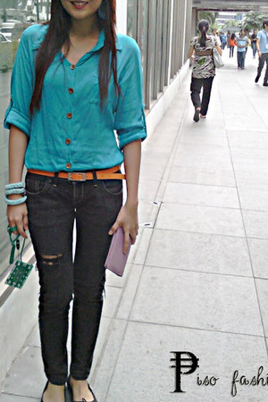 black Jag jeans - turquoise blue shirt