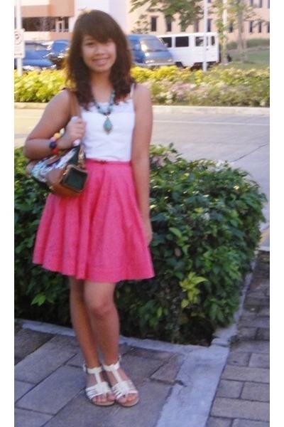 white tank top - green Prada bag - hot pink skirt